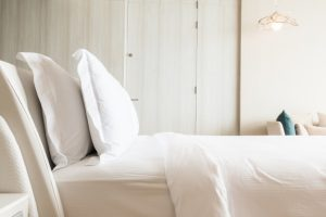 White bed and pillows